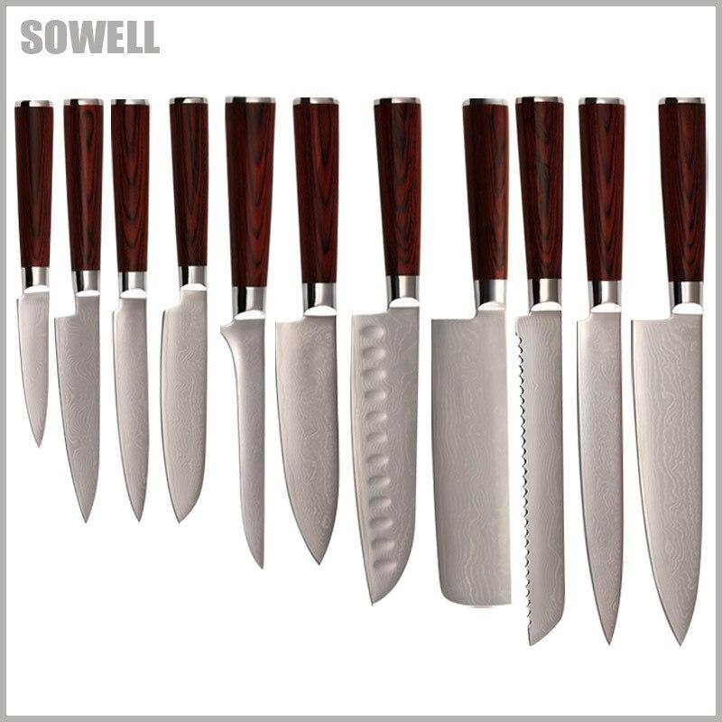 Цин бренд Дамаск кухонные ножи Chef нарезки хлеба Chopper santoku косточки утилита нож для очистки овощей 9Cr18Mov дамасской стали ножи