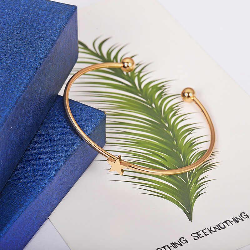 4 unids/set pulseras de mujer bohemio pentagrama corazones de melocotón estrellas Luna abierto pulsera para mujer moda ropa joyería regalos de navidad
