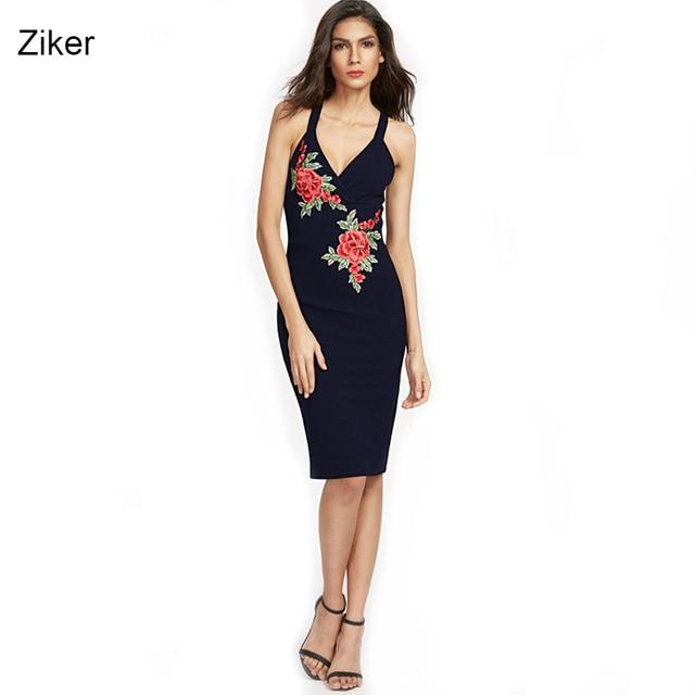Ziker new fashion 2017 summer women dresses sexy v-cổ quây bodycon pencil dress thêu hoa slim knee length dress