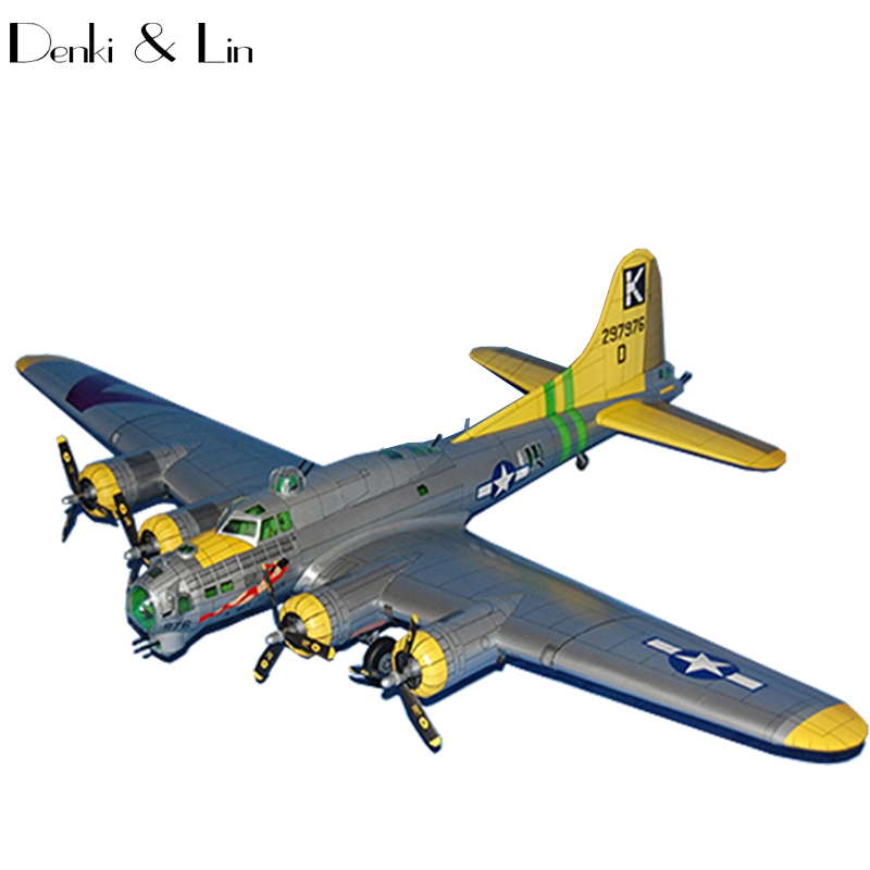 1:33 DIY 3D Boeing B-17G Flying Fortress Plane Aircraft Paper Model Assemble Hand Work Puzzle Game DIY Kids Toy Denki & Lin 1 32 diy 3d supermarine spitfire ixc type fighter plane aircraft paper model assemble hand work puzzle game diy kid toy