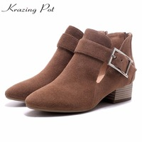 Krazing Pot Classics Cow Suede Women Gladiator Boots Metal Buckle Med Heels Designer Fashion Handmade Autumn