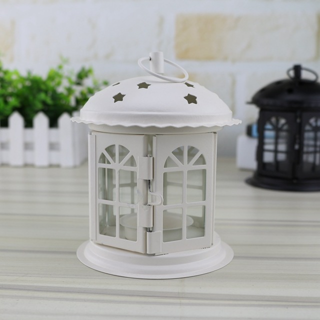 Portable Iron Star Candle Holders Home Decor Lantern Candlesticks