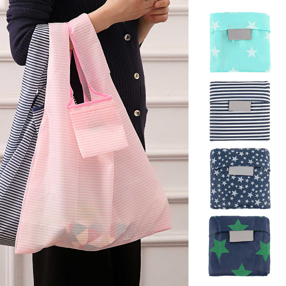 5 pcs Nova Moda bolsas de impressão Sacola dobrável bolsa Dobrável Conveniente Grande-sacos de armazenamento de capacidade