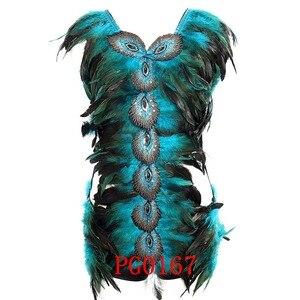 Image 3 - 羽本体ハーネスブラジャーと羽スカート女性のファッションセクシーなケージボンデージランジェリーパンクゴシックダンスフェスティバル着用