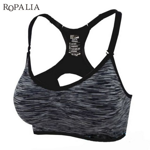 708782b798629 ROPALIA Women Fitness Bras Adjustable Spaghetti Straps Padded Sportwear Tops  Seamless Push Up Vest Shake Proof