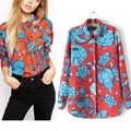New Design Oriental Charm Blouse 2016 Spring Hit Color Floral Print Shirt Long Sleeve Office OL Shirt Casual Slim Tops CI125
