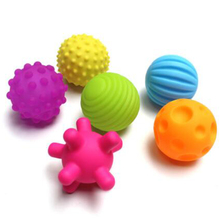6pcs Baby Rubber Ball Toys Develop Tactile Senses Textured Touch Toys Baby Training Balls Soft Rattle Activity Learning Toys 4N