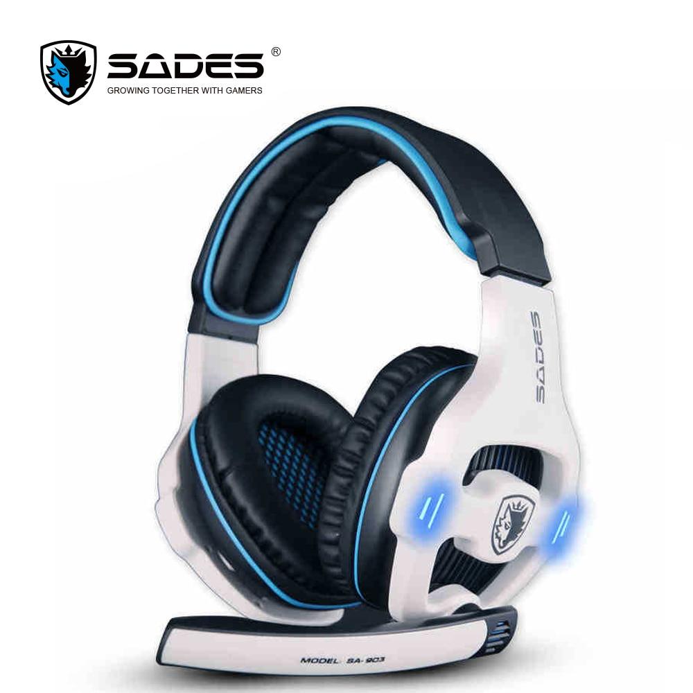 Sades SA-903 Виртуальный 7.1 Surround Sound наушники светодиодный микрофоном Игровые наушники USB проводной Дистанционное Управление гарнитура