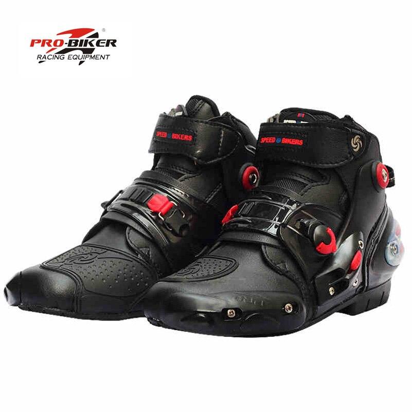 Pro байкер лодыжки кожа Motobotinki мотоциклов сапоги мужчины гонки moto мотоцикл обувь катера для мотокросса бота черный