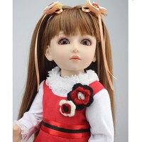 Ручной работы 18 дюймов девушка кукла Пластик игрушка Куклы для Обувь для девочек игрушки подарки, 45 см принцессы Куклы BJD куклы с красное пла