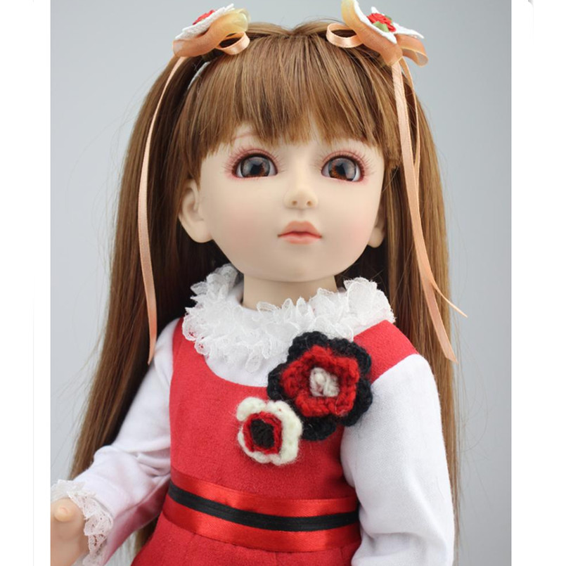 Handmade 18 Inch Girl Doll Plastic Toy Dolls for Girls Toy Gifts,45CM Princess Dolls BJD Doll with Red Dress and Shoes 18 inch dolls handmade bjd doll reborn babies toys for children 45cm jointed plastic toy dolls for girls birthday gifts juguetes