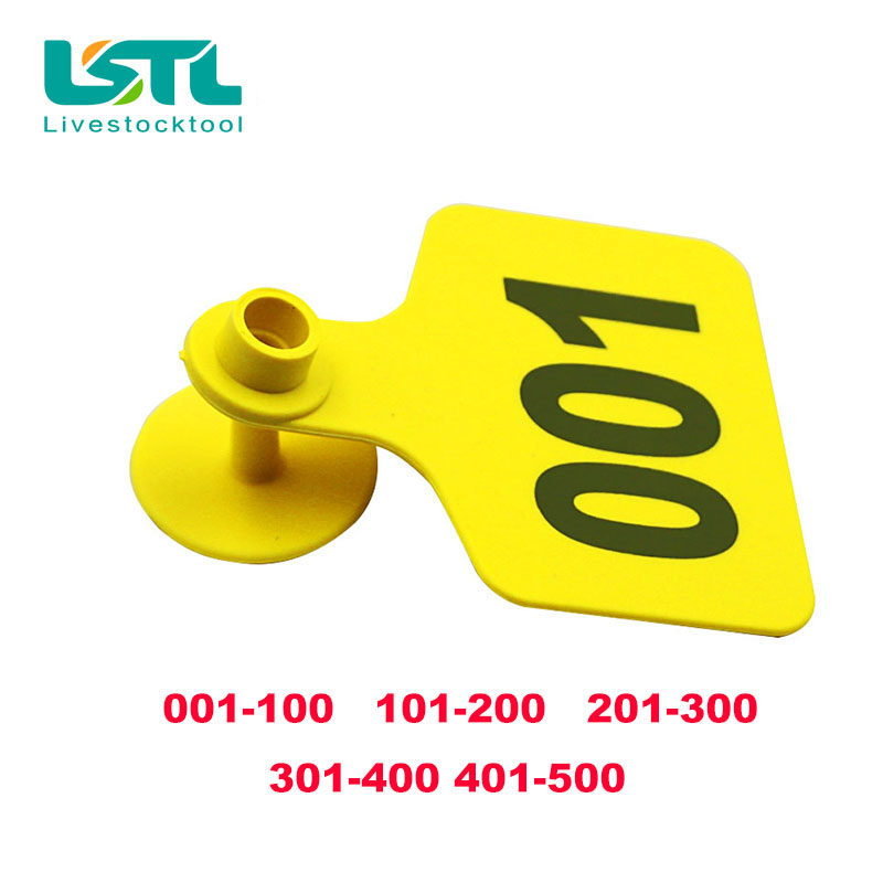 Goat Sheep Pig 201-300 Number Plastic Livestock Ear Tag With Yellow Color