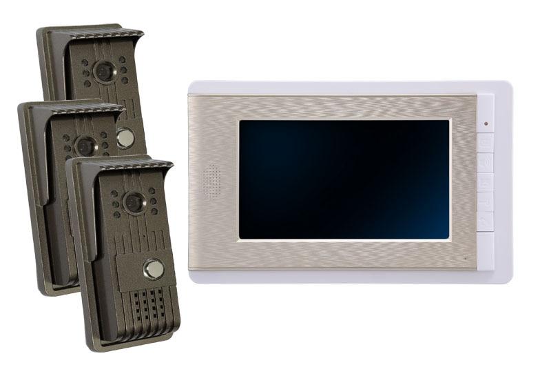 Teléfono de puerta de vídeo intercomunicador con cable de 7 pulgadas con 3 monitores