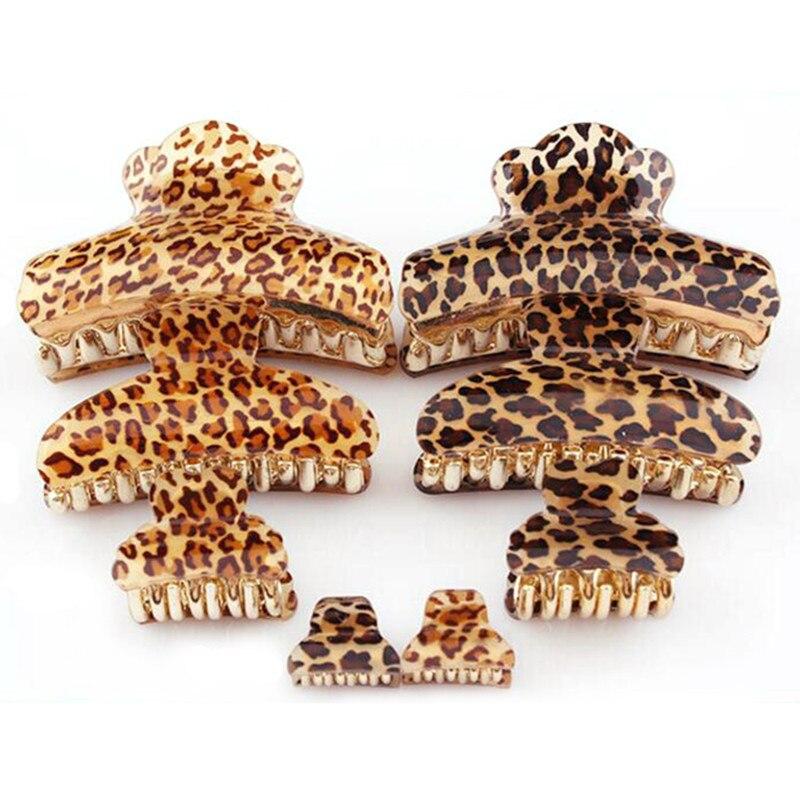 Arcylic Leopard Hairpins Hair Clip Trendy Crab Hair Claws For Women Girl Hair Accessories Hair Gripper 2016 High Quality 3 Size
