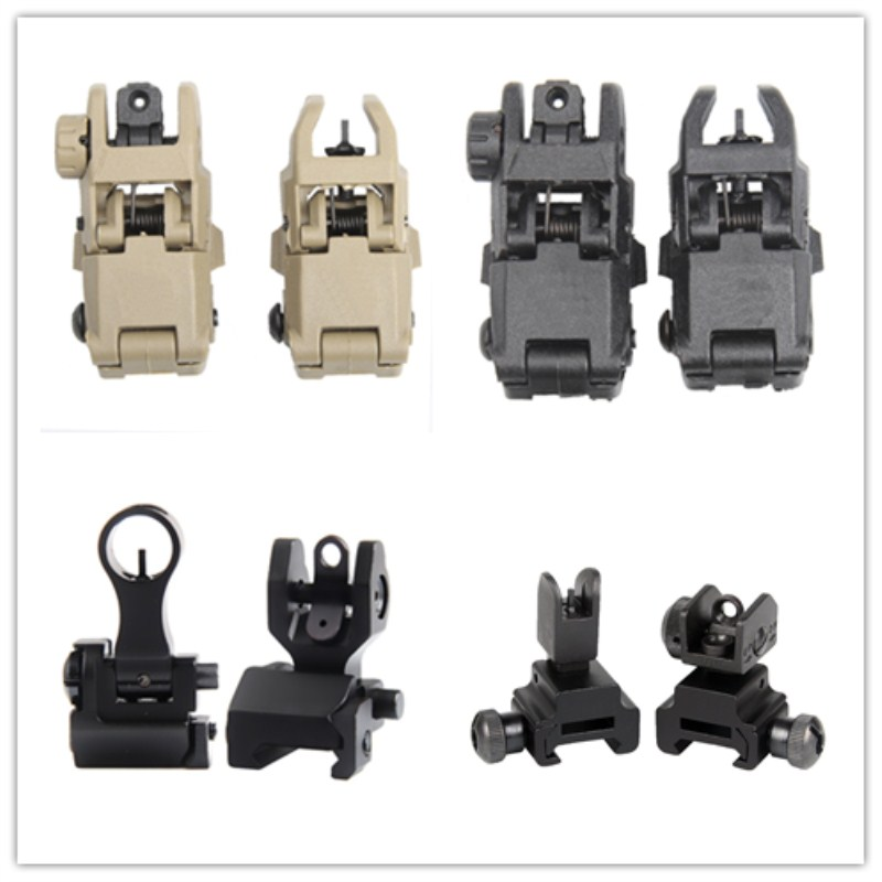 Tactical Front Rear Sight Set Folding Design Dual Apertures Polymer Sights Fit Picatinny Rails For M4 M16 AR15 Rifle