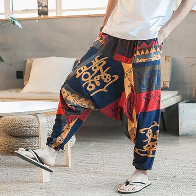 Mens Womens Yoga Pants Unisex Loose Drop Crotch Floral Yoga Joggers Aladdin Harem  Trousers Pants Fitness Clothing  2-in Yoga Pants from Sports ... e6b8f2ea27f