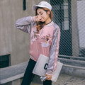 Pink Bomber Jacket Star Same Style 2016 Embroidery Flowers Baseball uniform bomber jacket coat Runway Tracksuit chaquetas mujer