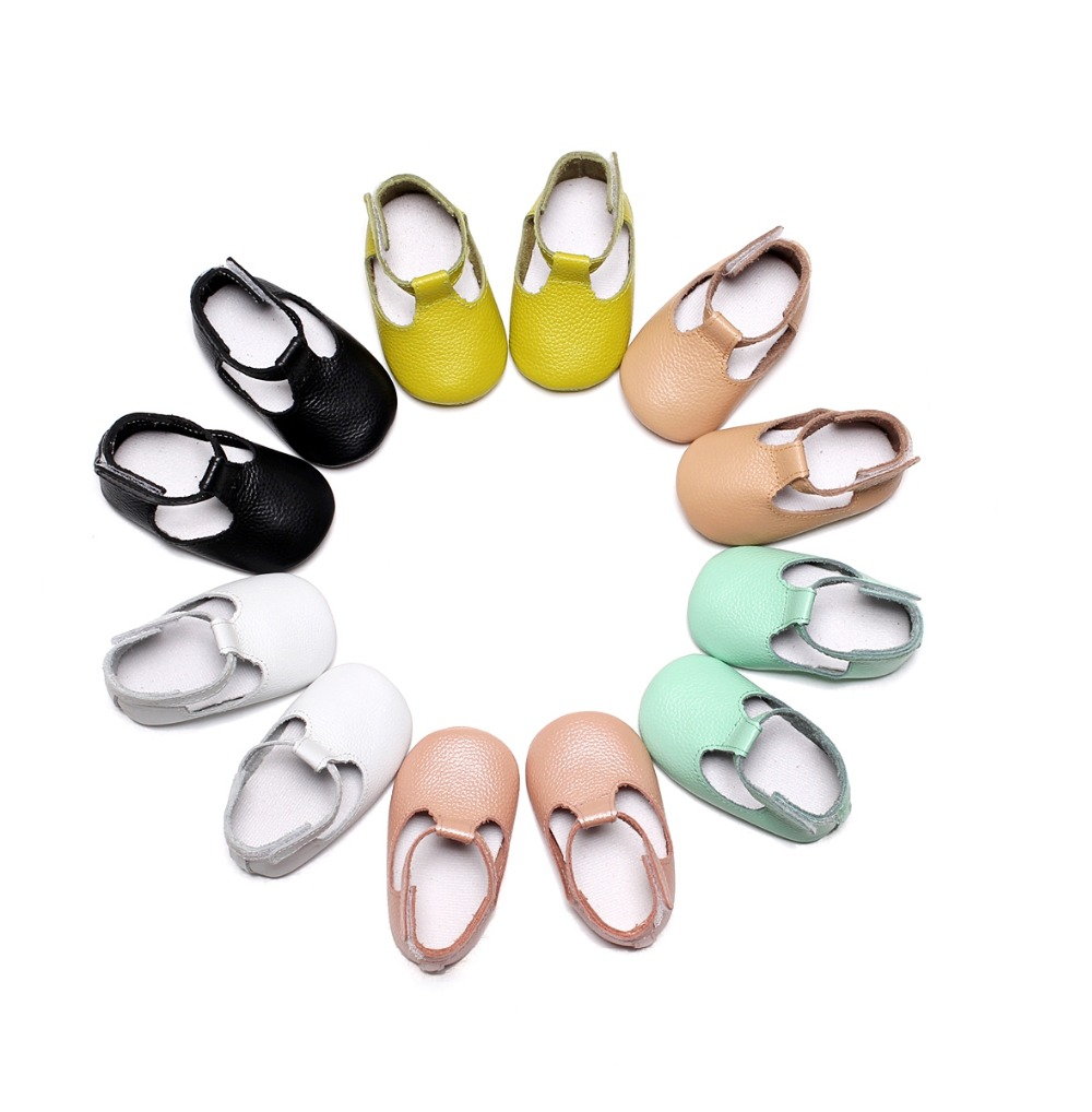 2017 Spring Handmade Genuine Leather Baby Moccasins Shoes Mary jane soft sole bow Baby Shoes Newborn first walker toddler Shoes