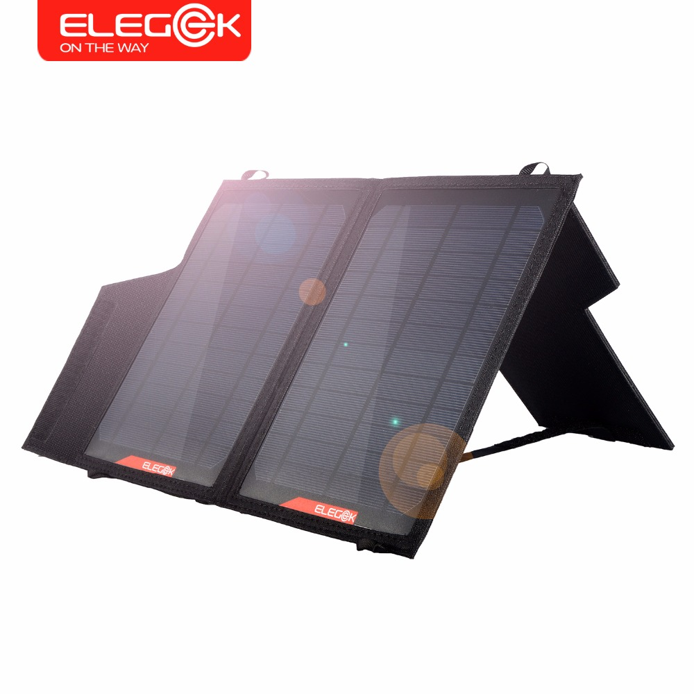 ФОТО ELEGEEK 14W Foldable Solar Panel Charger Dual USB Output Portable Folding Solar Panel with Adjustable Stand for iPhone Samsung