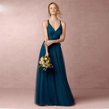 Custom Made Convertible Dress Long Bridesmaid Dresses V Neck Formal Dress Tulle Vestido Madrinha Cheap Summer