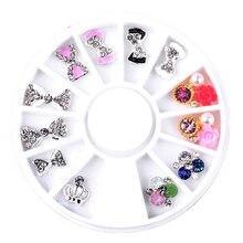 Pandahall 12pcs/set Clear Bow Flowers Crown Designs Charm Nail Art Rhinestone Decorations Wheel 3d Alloy Jewelry Supply