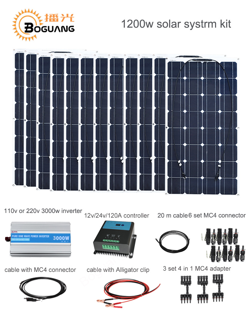 Boguang 1200w Solar System kit 100w solar panel module cell 120A controller 3000w inverter cable MC4  connector 12v power charge solarparts off grid solar system kits 800w flexible solar panel 1pcs 60a controller 2kw inverter 2 sets 4 in1 mc4 adaptor cable