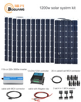 Boguang 1200w Solar System kit 100w solar panel module cell 120A controller 3000w inverter cable MC4 connector 12v power charge