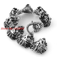 8 66 31mm 132g Hip Hop Silver Black Mens Heavy Jewelry Stainless Steel Silver Lion Heads