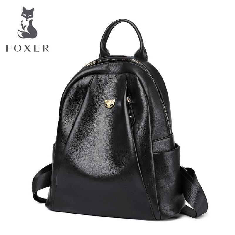 FOXER 2019 New Women Genuine leather bag designer famous brand leather women backpack Casual fashion leather backpackFOXER 2019 New Women Genuine leather bag designer famous brand leather women backpack Casual fashion leather backpack