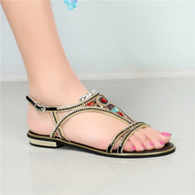 2018 Summer New Fashion Diamond Women Thick Heel Casual Sandals Open Toe Large Ladies Shoes Size 11 Gold Silver Black цены