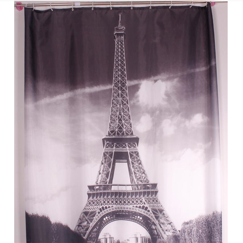 Thickened flower pattern Eiffel Tower polyester shower curtain city night view bridge shower curtain bathroom partition curtain