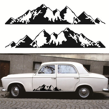 2pcs Mountain Graphic Car Sticker Car Body Racing Side Door Long Stripe Stickers Auto Vinyl Decal Car Body Sticker image