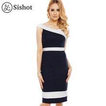Sishot women pencil dresses 2017 summer dark blue knee length white color block slash neck sexy backless patchwork office dress