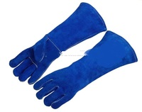 Premium TIG MIG Plasma Oxygen Welding Glove Cowhide Leather 46cm Long Cotton Lining KEVLAR Seamless Finger