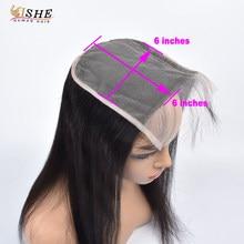 Cierre de encaje transparente liso 6x6 Cierre de encaje suizo grande prearrancado con pelo de bebé cabello humano peruano negro para mujer