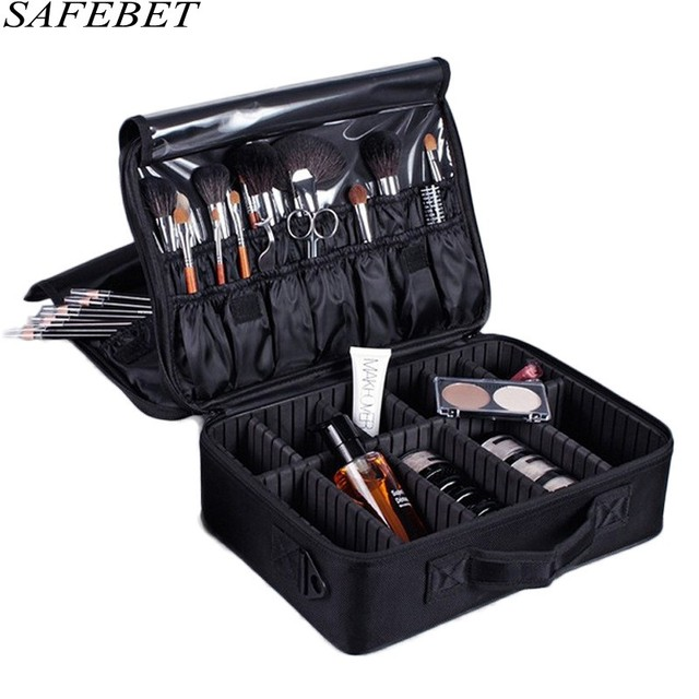 SAFEBET Brand Women High Quality Waterproof Oxford Large Multi-Storey Professional Makeup Organizer Bolso Mujer Cosmetic Case 1