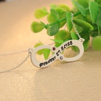 Customized Family Name Engraved Sterling Silver Choker Necklace Personalized Couple Names Stamped Fashion Infinity Jewelry