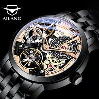 AILANG Original design watch automatic tourbillon wrist watches men montre homme mechanical Leather pilot diver Skeleton 2019