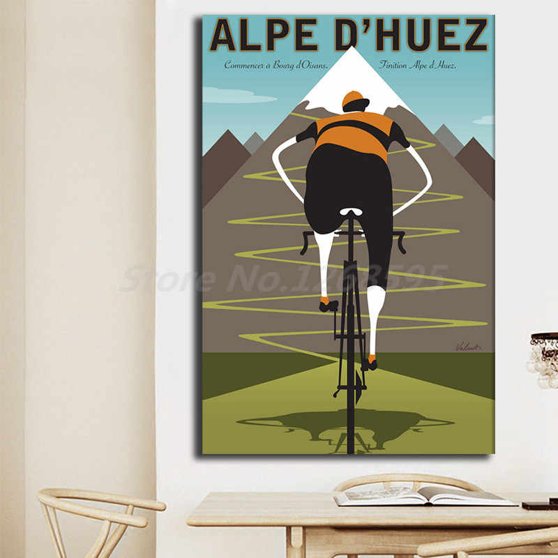 Alpe Mountain Bicycle Bike Ride Vintage Retro Kraft Art Canvas Poster Painting Wall Picture Print Home Bedroom Decoration Giclee