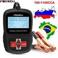 2017 multi-línguas 12 v testador de bateria de carro analyzer foxwell bt100 automotiva pro 12 tensão cranking carregamento 100-1100 cca