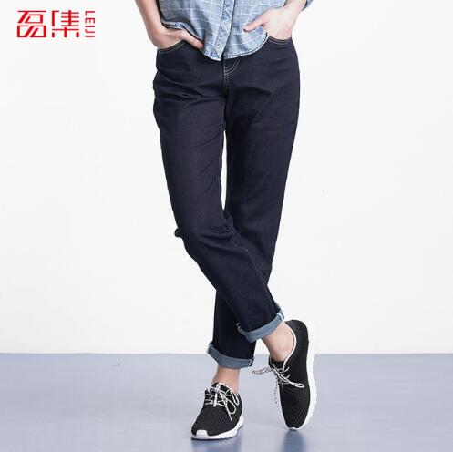 Jeans Mujer 2017 Women Denim Cuffs Jeans Casual Loose Cotton Elastic Dark Blue Harem Pants Mid Waist Women Trousers 4XL 5XL 6XL women girls casual vintage wash straight leg denim overall suspender jean trousers pants dark blue