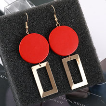 2019 Aretes Pendientes Brinco Brincos Street Pat Earrings Temperament Wood Geometric Splicing Individual Delicate Ear Nailssale(China)