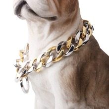 10/12/15/17/19MM Strong Heavy 316L Stainless Steel Silver Gold Curb Cuban Dog Chain Pet Collar Choker Necklace 12