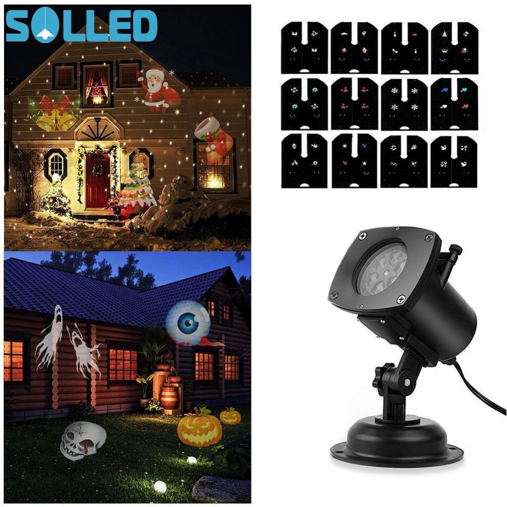 SOLLED Christmas Lamp Rotating LED Projection Light 12 Patterns 12 Replaceable Lens for Birthday Wedding Celebration Decoration