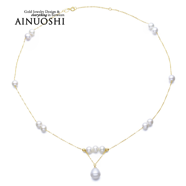 AINUOSHI 18K Yellow Gold Natural Cultured Freshwater Pearl Choker Necklace for Women Wedding Engagement Birthday Party Best Gift