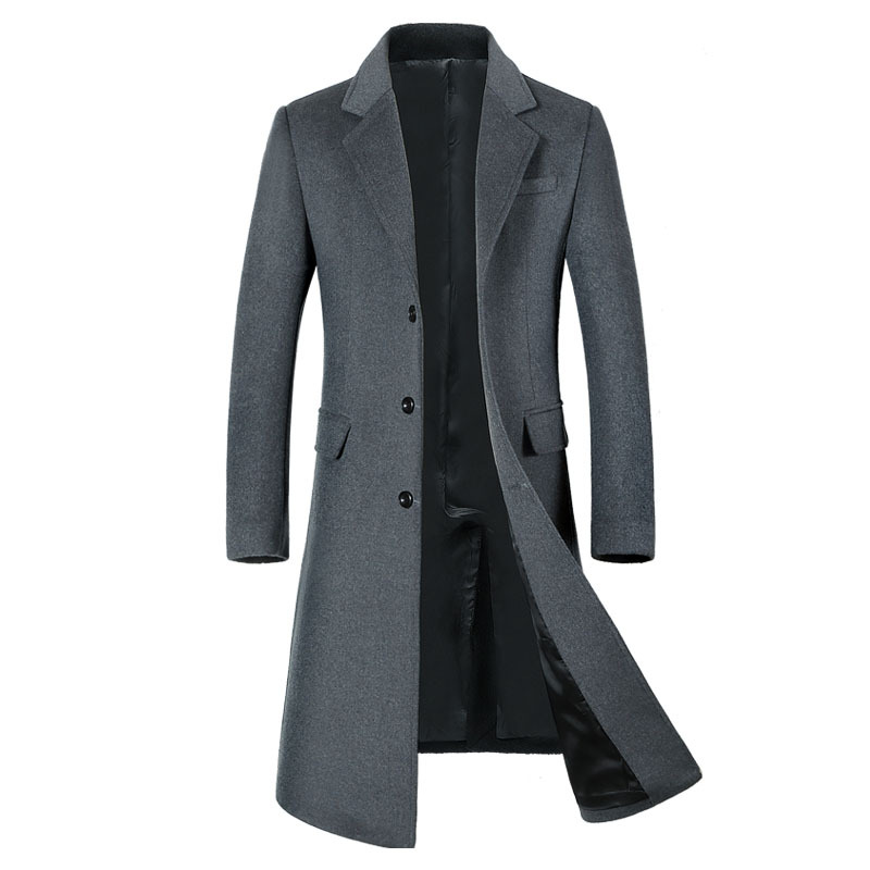 New Winter Long Trench Coat Men Wool Thicken Thicken Windbreaker Mens Casual Warm Outwear Overcoat 2019 New R1661