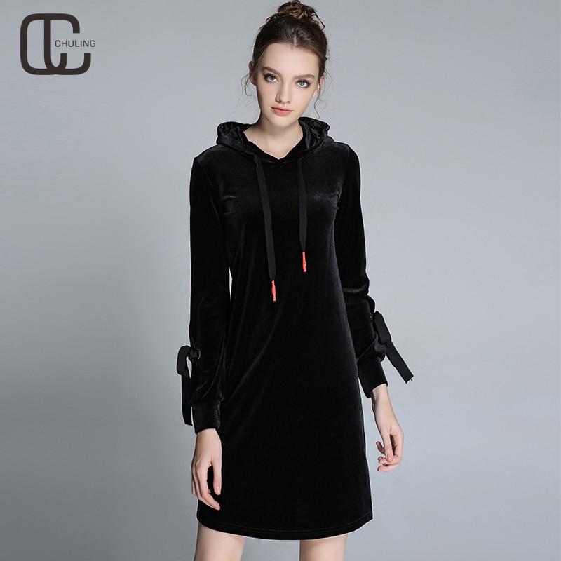 Autumn Winter Black Velvet Women Simple Casual Dresses ...