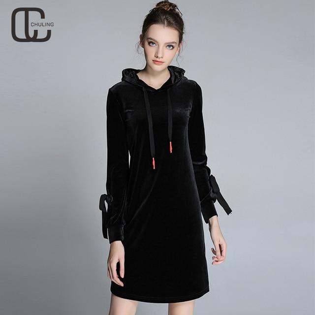 e5dd181c2776 Autumn Winter Black Velvet Women Simple Casual Dresses Ladies Long Sleeves  Ribbon Woman Hooded Dress Plus Size Woman Clothing