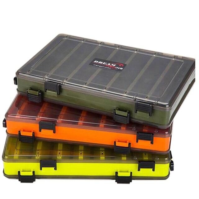 Portátil dupla face caixas de equipamento de pesca multifunções 14 compartimentos iscas de pesca recipiente caixa acessórios da engrenagem de pesca
