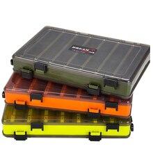 Przenośne dwustronne pudełka wędkarskie wielofunkcyjne 14 przegródek przynęty pojemnik Box sprzęt wędkarski akcesoria